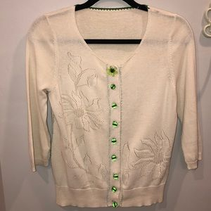 Anthropologie Cardigan Green and Cream Sweater